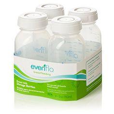 Evenflo 4 Pack Simplymilk Storage Bottles, 5 Ounce