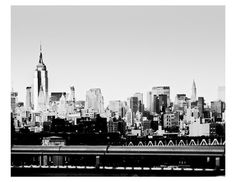 New York City Skyline fine art print  - hand sketch tone New York city skyline from dumbo Brooklyn  Manhattan bridge over east river on Etsy, $22.00