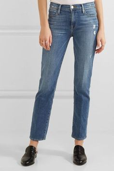 FRAME - Distressed High-rise Straight-leg Jeans - Mid denim