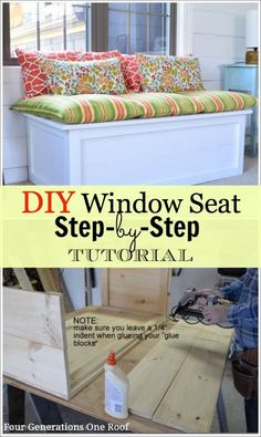 My dad and I built this window seat in an afternoon and so can you! Step by step instructions @Four Generations One Roof