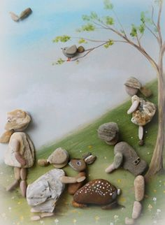Rock Painting Ideas Easy, Rock Painting Designs, Stone Crafts, Rock Crafts, Pebble Pictures, Art Pictures, Pebble Art Family, Rock Sculpture, Creative Arts And Crafts