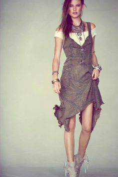 Free people. love the necklace and shoes with the faded denim