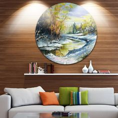 Designart 'River in the Spring Woods' Landscape Glossy Disk Metal Wall Art