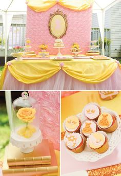 pink and gold beauty and the beast dessert table