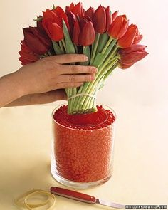 Red Hots candy as vase filler for red flowers, e.g., tulips, roses, carnations, etc. Place smaller inside vase and fill outer cavity with red hots. Inner vase contains your water and stems. An especially great idea for Valentine or Christmas decor.