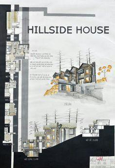 The Hillside House Home Architecture Styles, Plans Architecture, Architecture Panel, Architecture Student, Architecture Portfolio, Concept Architecture, Architecture Drawings, Landscape Architecture, Landscape Design