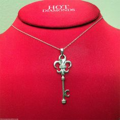 14k White Gold Fleur de Lis Pendant Charm Pave Diamonds Nacklace Key by RG&D...     #10kt #yellowgold #gold #yellow #fashion #online #pendant #jewelry #goldpendant #chains #goldchain #shopping #buy #sell #love #jewels