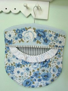 Laundry Day Clothes Pin Bag  Wood Hanger  Blue by PerfectPieLady, $23.00