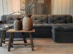 sofa, stool and pots! Sober Living, Home And Living, Living Room Lounge, Living Spaces, Gray Interior, Interior Design, Chalet Interior, Sweet Home, Beautiful Interiors