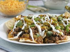 Beefy Enchilada Nachos from Betty Crocker. love this site for healthy and yummy recipes
