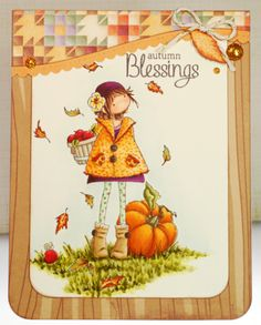 Featuring Stamping Bella's Tiny Townie Fay Loves Fall SKU 726123, available at www.addictedtorubberstamps.com  Card found on the blog A Thousand Sheets of Paper: Autumn blessings...
