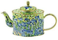 Van Gogh Irises Miniature Porcelain Teapot | Museumize | miniature teapots, kelvin chen teapots, hand painted porcelain, museum store gifts