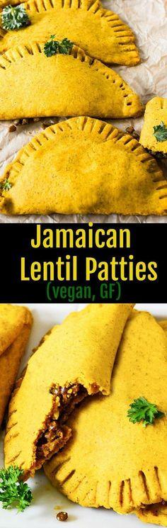 Jamaican Lentil Patties (Vegan, Gluten-Free) Leckere gefüllte Teigtaschen, natürlich vegan und glutenfrei. Ich habe auch viele Rezepte auf www.foodreich.com