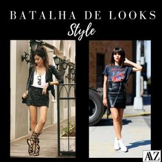 BATALHA DE LOOKS  SAIA DE PAETÊ X SAIA DE COURO Looks Style, Sequin Skirt, Mini Skirts, Sequins, Photo And Video, Fashion, Battle, Leather, Style