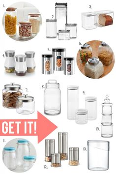 Embracing the open shelving trend in your kitchen? Keep those shelves dressed well with some fabulous glass containers. Get the details here: http://www.bhg.com/blogs/better-homes-and-gardens-style-blog/2013/04/15/pin-it-get-it-glass-canisters/