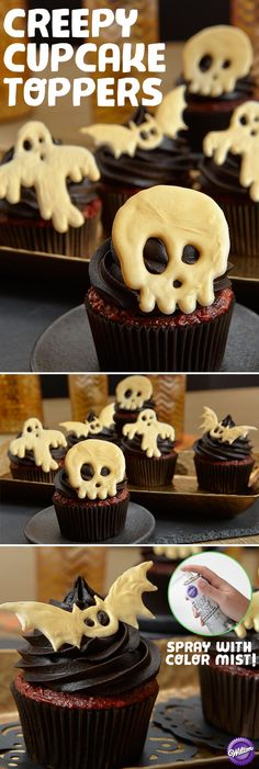Top chocolate cupcakes iced in midnight black with candy melts creatures like ghosts, skulls and bats sprayed with Gold Color Mist Food Color Spray. Quick, easy and creepy!