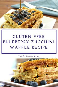 Gluten Free Blueberry Zucchini Waffles. Perfect for a summer Sunday morning breakfast. Plus they're packed with nutritionally boosted protein powder which makes them the perfect meal to refuel after a long run or workout! Find the recipe on TheFitFoodieMama.com