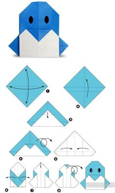 origami for kids and their parents. Selection of funny and cute figures – DIY is FUN Origami Design, Diy Origami, Origami Simple, Easy Origami For Kids, Origami And Kirigami, Origami Paper Art, Origami Penguin, Origami Yoda, Origami Instructions
