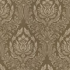 601-58427 Green Damask - Pastiche - Kenneth James Wallpaper