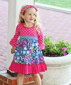 Loving this Pink & Blue Ruffle-Sleeve Tieback Dress - Infant, Toddler & Girls on #zulily! #zulilyfinds
