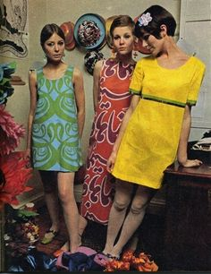 Typical 1960's women's dress - the skirt lengths, prints and the hair and makeup.