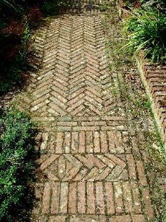 Historic Victorian Brick Path Barrington Court Somerset England - This would be a beautiful way to use those old bricks. Brick Walkway, Brick Paving, Brick Path, Brick And Stone, Path Design, Landscape Design, Garden Design, Design Ideas, Design Design