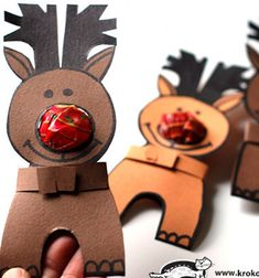 Rudolpf with a lollipop nose // Nyalóka orrú Rudolf - rénszarvasos ajándék // Mindy - craft tutorial collection // Santa Crafts, Fun Crafts, Christmas Crafts, Christmas Decorations, Craft Projects, Advent, Pattern, Gifts, Fun Diy Crafts