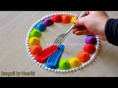 3 Rangoli for ganesh chaturthi using fork l ganpati simple rangoli l vinayagar rangoli kolam design - YouTube