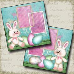 SWEETEST BUNNIES - Premade Scrapbook Pages - EZ Layout 286 Easter #EZscrapbooks