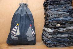 Drawstrig denim backpack, denim backpack , backpack purse , rucksack , handmade backpack , denim bag , jeans bag , sailing boat bag , yacht by SecondBirthday on Etsy