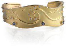 Ocean Cuff Bracelet by Ross Coppelman (Diamond & Sapphire)  ||  18k Yellow Gold (all gold), Diamond (0.14 ctw), Sapphire (0.33 ctw)   $13,250.00    http://rosscoppelman.com/collections/ocean-series/ocean-cuff-bracelet-all-gold-diamond-and-sapphire.html