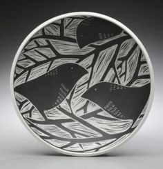 laurie landry pottery - sgraffito bowl birds branches