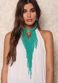 Banta Turquoise Beaded Necklace. Turquoise Collars Fringe Necklaces. Boho Chic Jewelry. Turquoise Beaded Collar