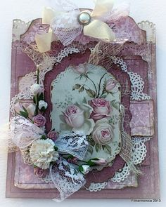 Vintage Cafe Card Challenge:  Choose your paper then type in Roses in Pinterest search and choose the roses that best match your paper - print and scrape!