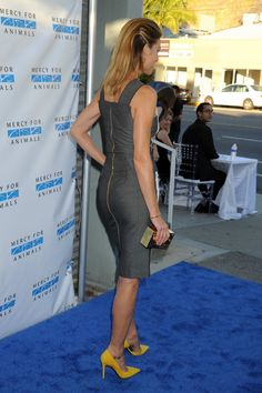Tricia Helfer booty in a gray dress