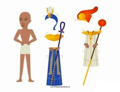 A scowling Egyptian paper doll man carries a staff and can wear a bright blue outfit or orange garb in this free printable. Free to download and print