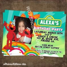 Your little love elmo, and she loves rainbow theme? Okay this rainbow elmo invitation is perfect for your kid's birthday celebration