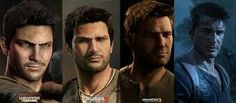 The faces of Nathan Drake from Uncharted.