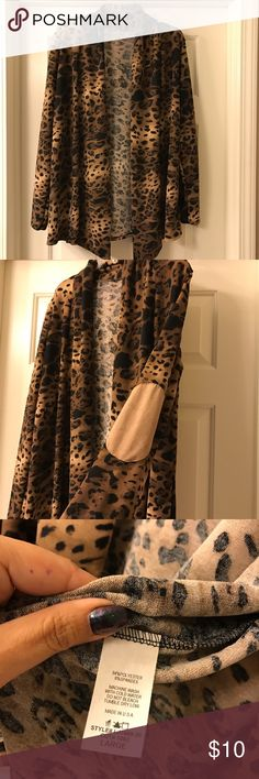 L leopard cardigan with elbow patches Brand new without tags. Never worn or washed. Lightweight. Cute almost suede feeling elbow patches. Bought from a boutique here in Vegas. Sweaters Cardigans