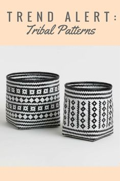 Black and white bamboo baskets #basket #blackandwhite #tribal #ad