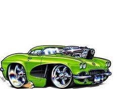 Corvette Muscle Car Art Cartoon Tshirt Free Muscles