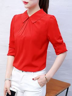 Buy Doll Collar Plain Blouse online with cheap prices and discover fashion Blouses at Fashionmia.com.