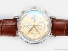 Iwc-Others-Watch-Portofino-Chronograph-Swiss-Valjoux-7750-Movement-AR-Coating-with-Yellow-Dial.