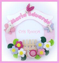 Porta maternidade jardim de feltro