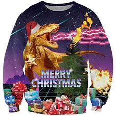 Goodstoworld Weihnachtspulli Herren 3D Christmas Sweater Dinosaur Ugly  Weihnachtspullover Comic Dinosaurier Pullover Weihnachten XXXL 6d6146c55f