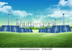 Solar panel and eolic system on green park
