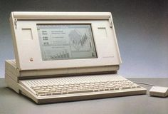 The 16 Mhz Mac Portable, Apple's first portable Macintosh computer. 1989.
