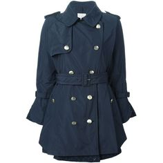 Moncler Durenette Trench Coat (79,105 INR) ❤ liked on Polyvore featuring outerwear, coats, jackets, blue, moncler, flared coat, flared trench coat, double breasted trench coat and flare coat