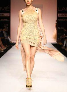 Asymmetric Halter Dress by Sougat Paul | Indian Designers
