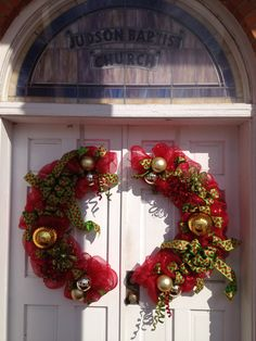 Christmas Wreaths Split For Double Doors In Red Poly Deco Mesh And Lime Green Ribbon